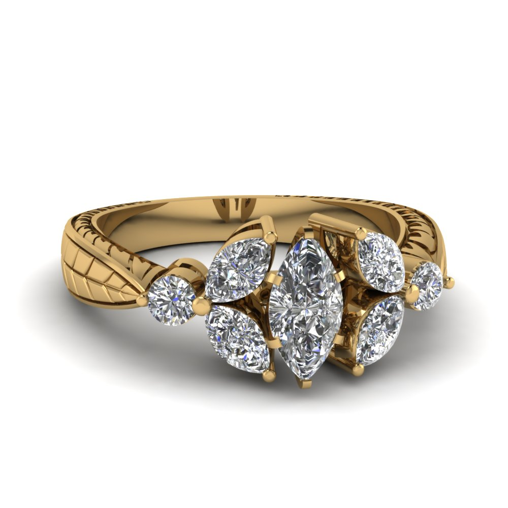 Vintage Marquise Petal Diamond Ring