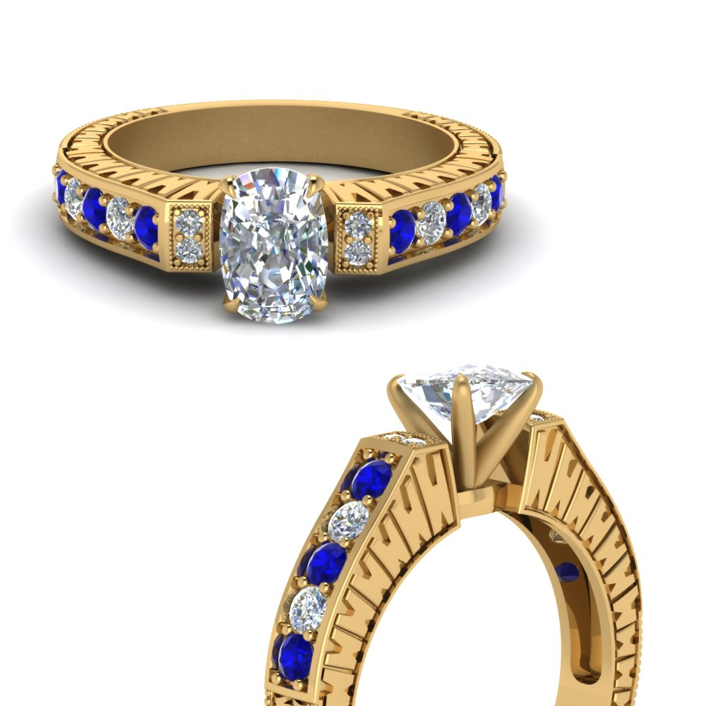 vintage pave cushion diamond engagement ring with sapphire in FDENS352CURGSABLANGLE3 NL YG