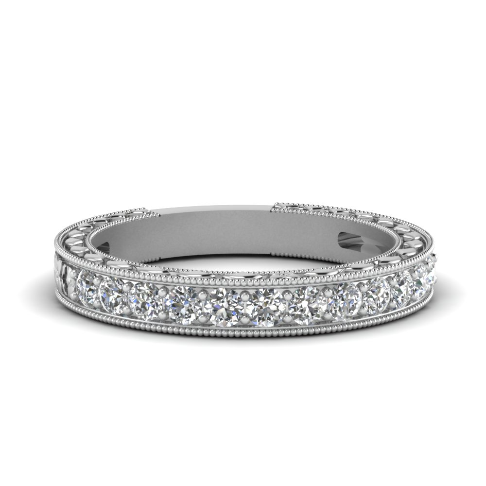Vintage Round Diamond Platinum Band