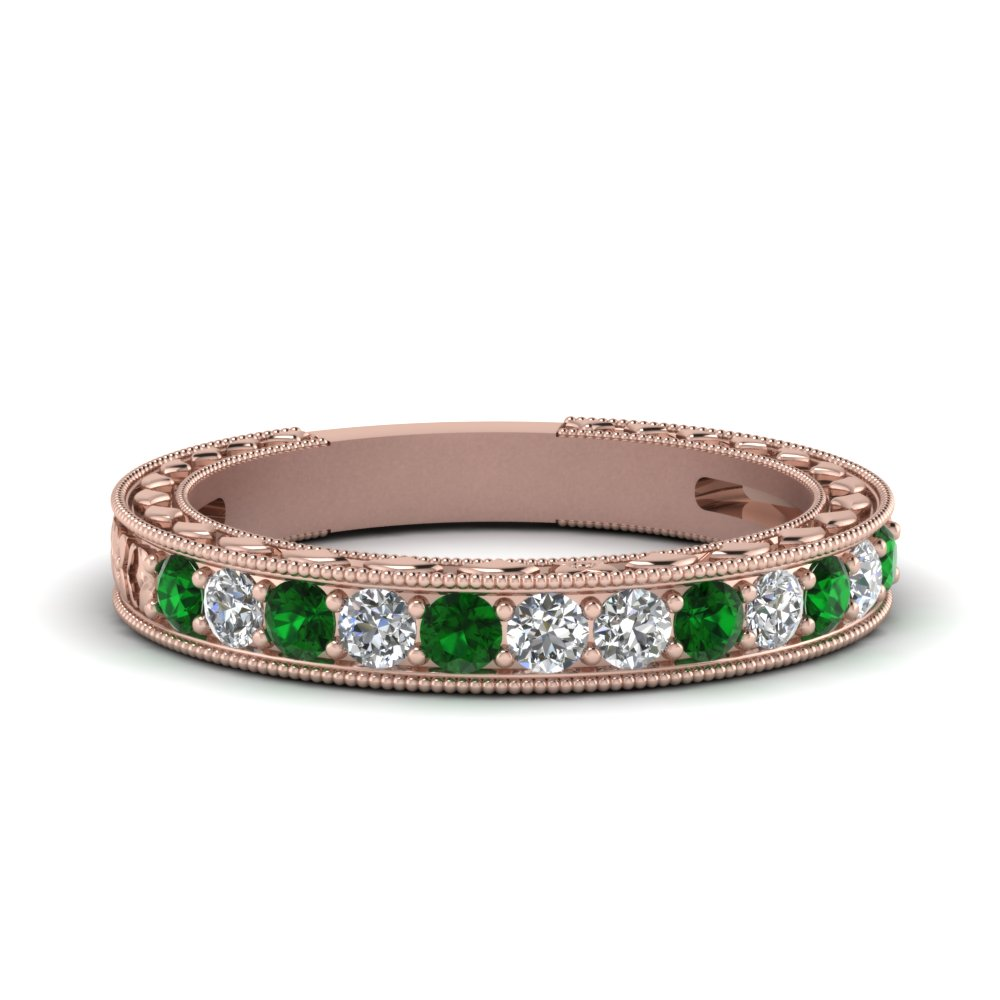 Emerald Milgrain Design Band