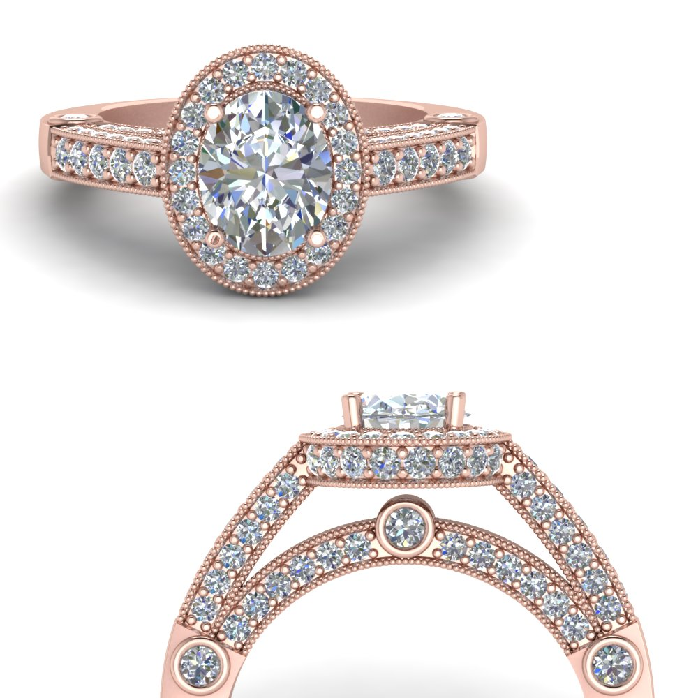Vintage Pave Halo Oval Diamond Engagement Ring In 18K Rose Gold