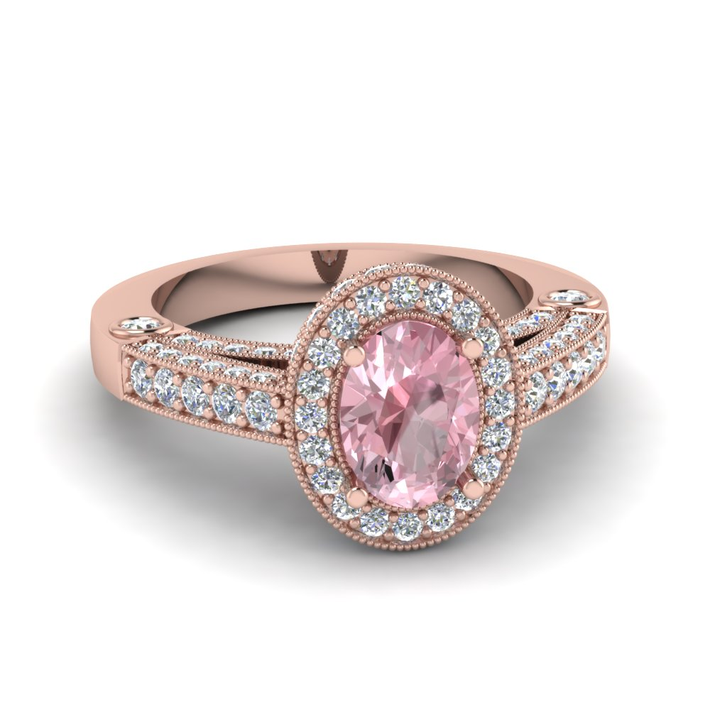 Vintage Pave Halo Oval Morganite Ring