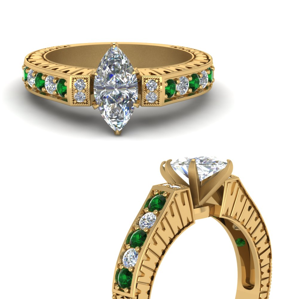vintage pave marquise diamond engagement ring with emerald in FDENS352MQRGEMGRANGLE3 NL YG