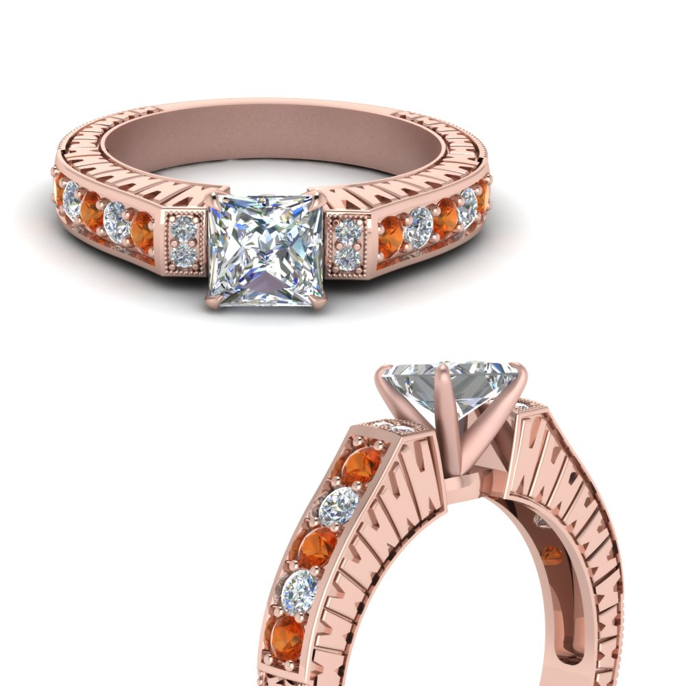 vintage pave princess cut diamond engagement ring with orange sapphire in FDENS352PRRGSAORANGLE3 NL RG