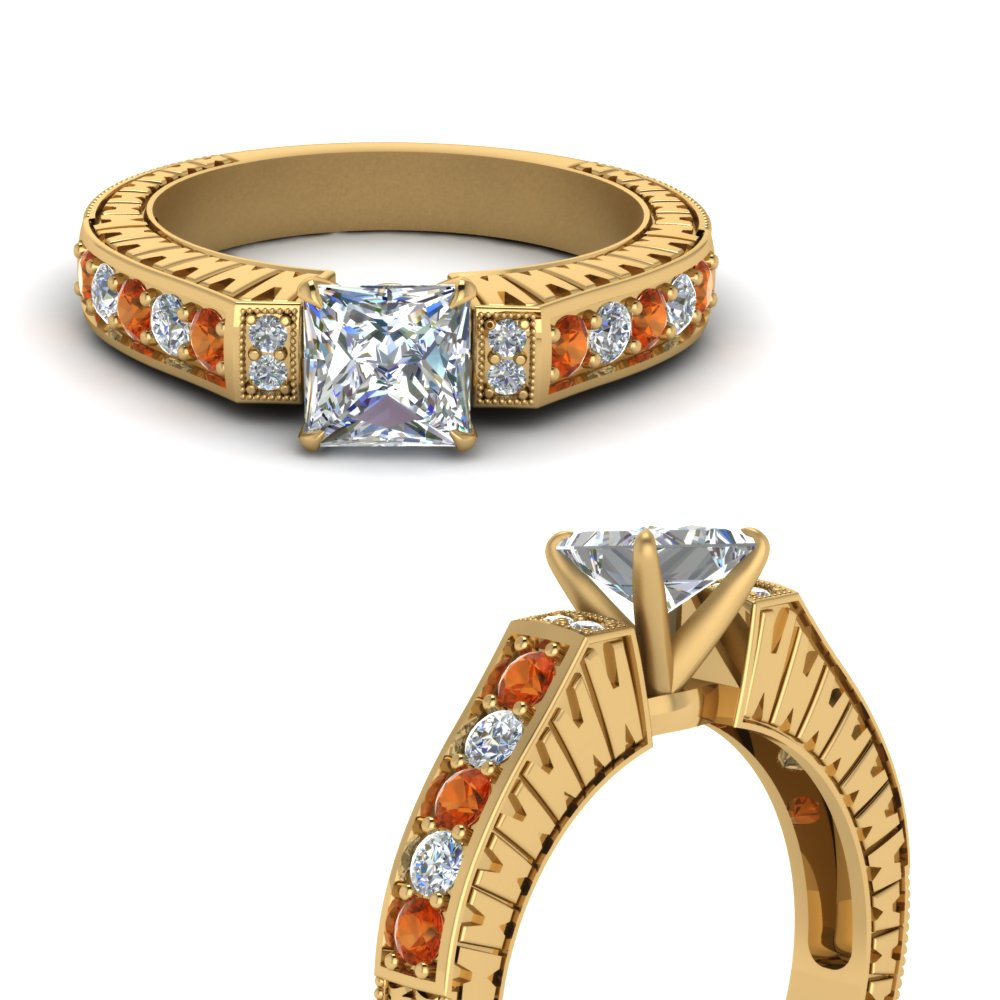 vintage pave princess cut moissanite engagement ring with orange sapphire in FDENS352PRRGSAORANGLE3 NL YG