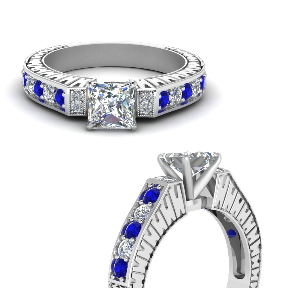 vintage pave princess cut diamond engagement ring with sapphire in FDENS352PRRGSABLANGLE3 NL WG