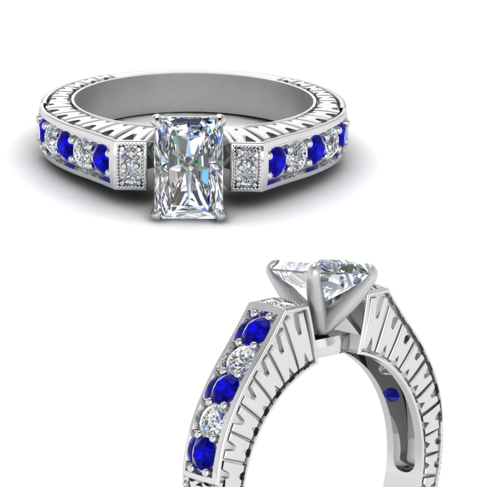 vintage pave radiant diamond engagement ring with sapphire in FDENS352RARGSABLANGLE3 NL WG