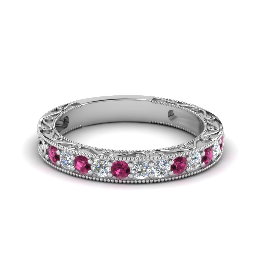 vintage pave round diamond women band with pink sapphire in FDENS3528BGSADRPI NL WG