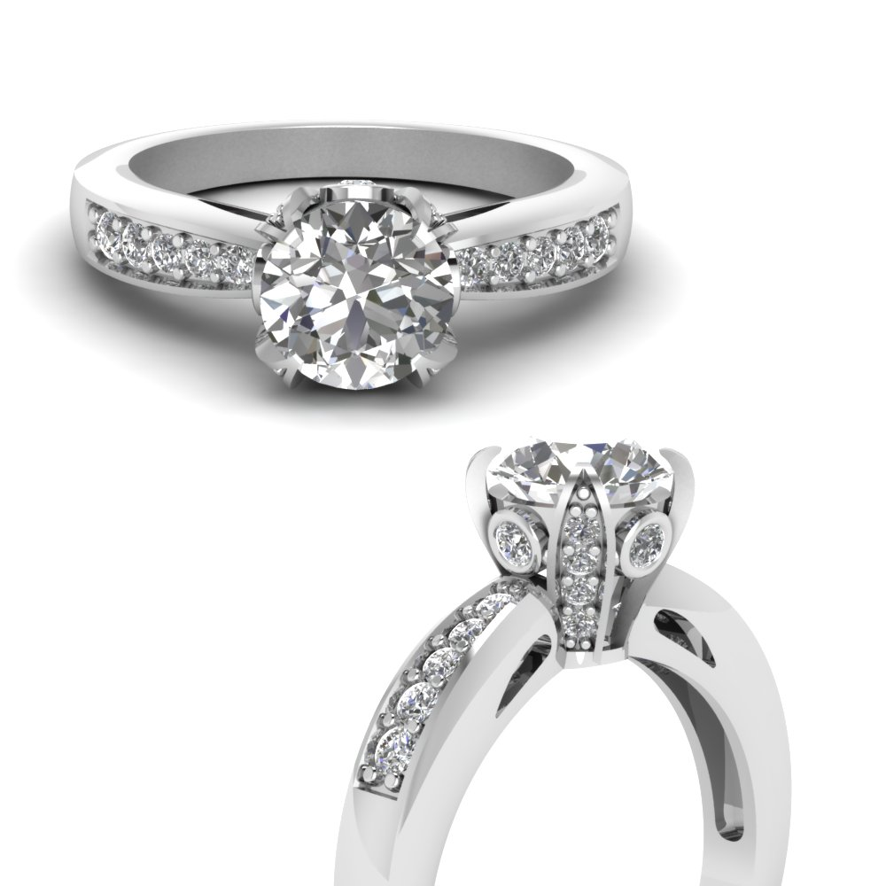 Cathedral Crown Set Round Diamond Ring