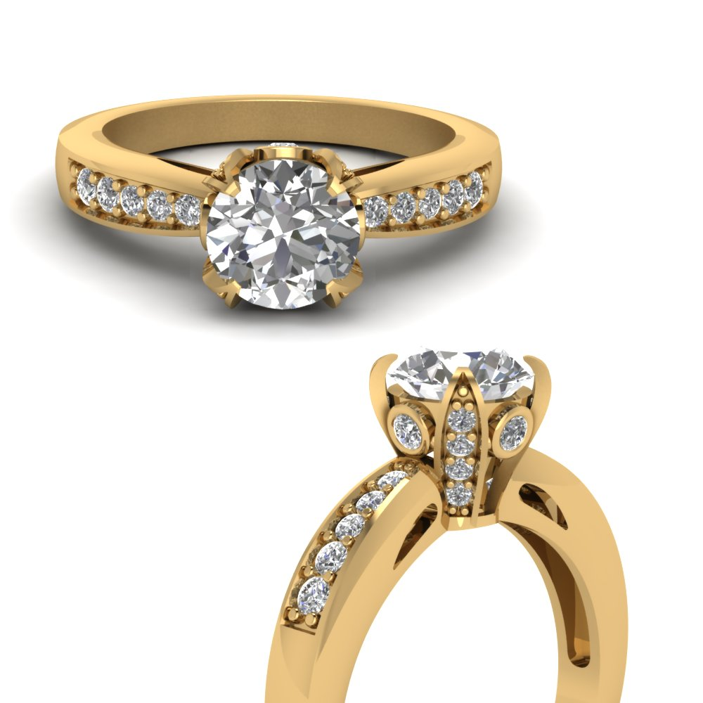 Vintage Pave Wrap Round Diamond Engagement Ring In 18k Yellow Gold Fascinating Diamonds