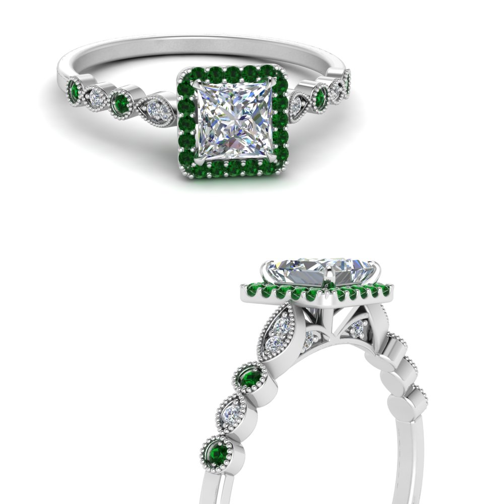 vintage-princess-cut-diamond-engagement-ring-with-emerald-in-FD121599PRRGEMGRANGLE3-NL-WG