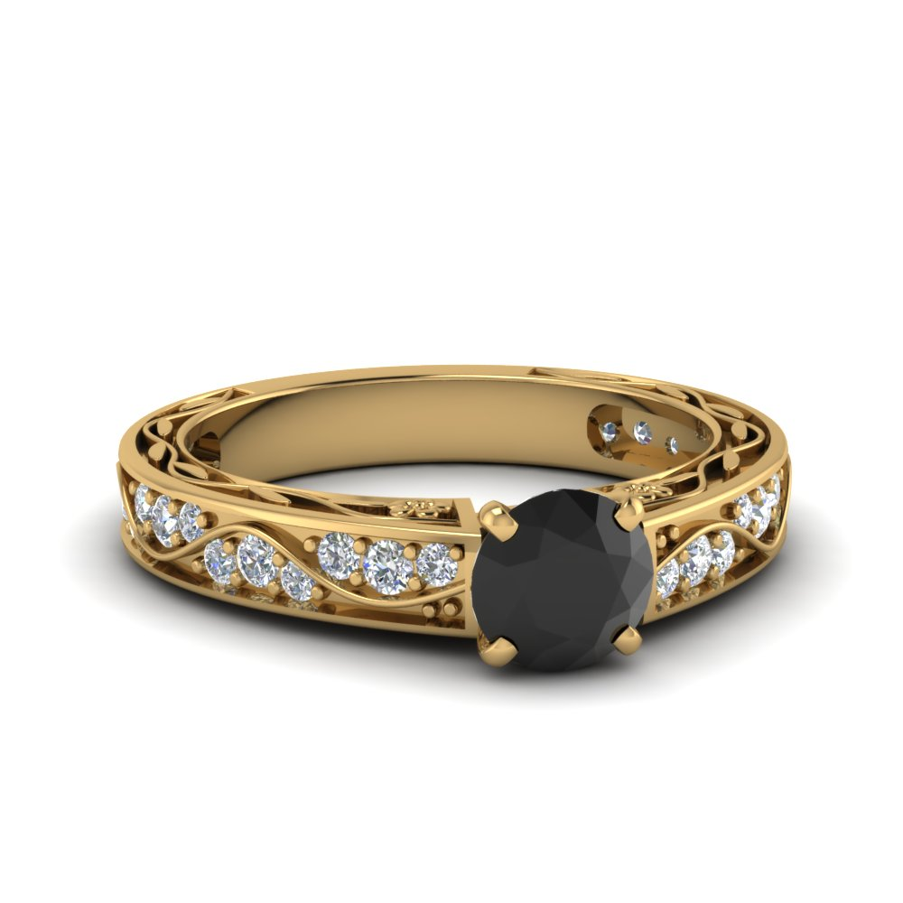 Vintage Round Black Diamond Ring