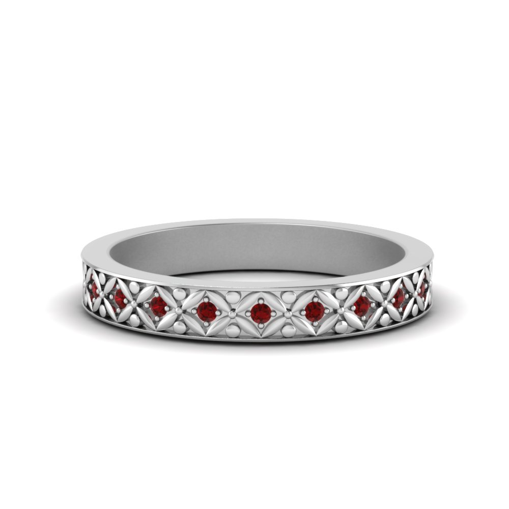 vintage ruby eternity band for her in 14K white gold FDEWB8646GRUDR NL WG