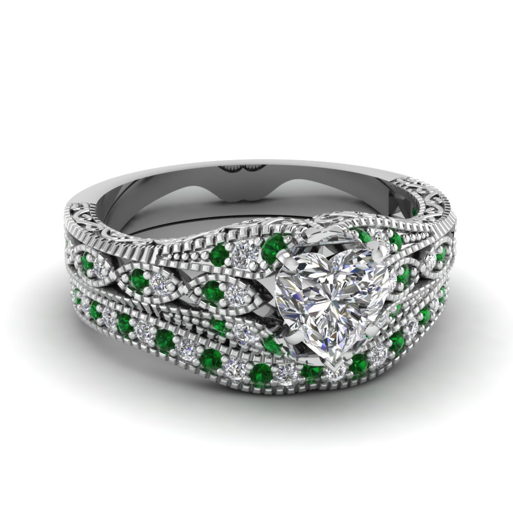 vintage style 1 ct heart diamond wedding set with emerald in fd1066htgemgr nl wg - Vintage Wedding Ring Set