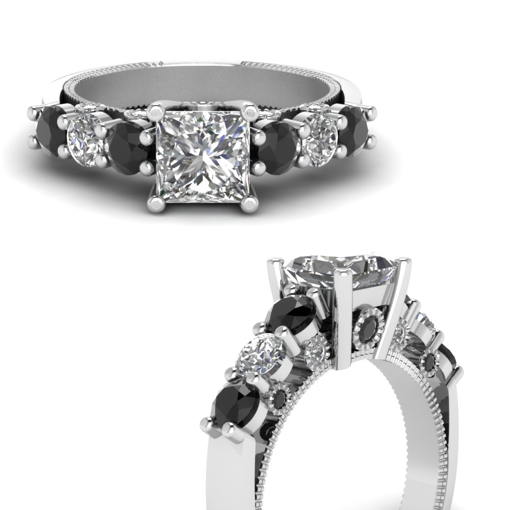 vintage style princess cut engagement ring with black diamond in FDENR6770PRRGBLACKANGLE3 NL WG.jpg