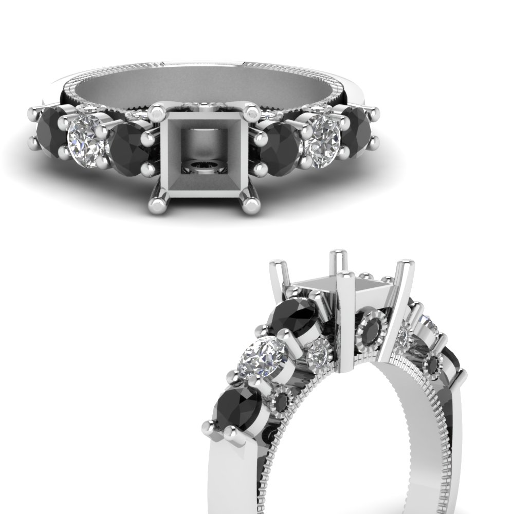 vintage style semi mount engagement ring with black diamond in FDENR6770SMRGBLACKANGLE3 NL WG.jpg
