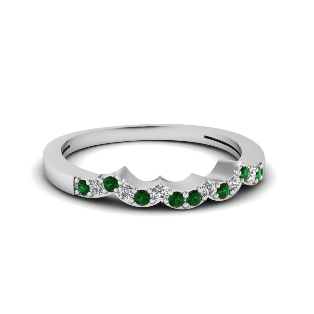 Emerald Wave Wedding Band