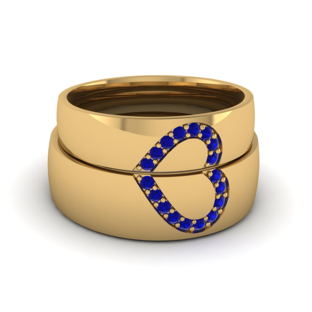 wedding band sets his and hers with blue sapphire in 14K yellow gold FD1144BGSABL NL YG GS