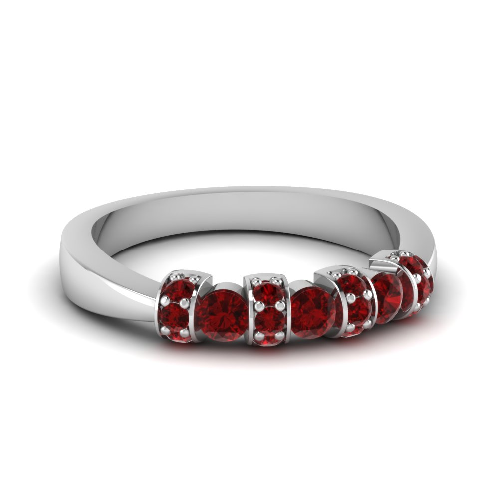 wedding band stackable gemstone rings with red ruby in 14K white gold FD62205BGRUDR NL WG GS