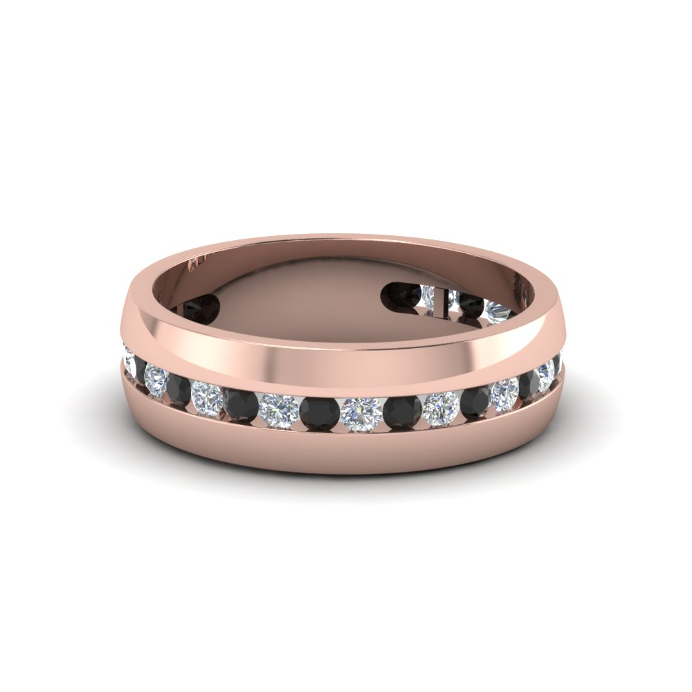 wedding band white diamond with black diamond in 14k rose gold