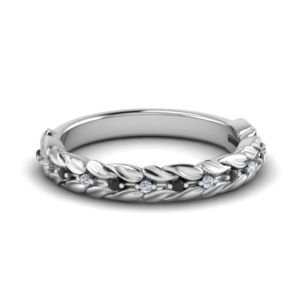 Nature Inspired Wedding Band With Black Diamond In 14K White Gold