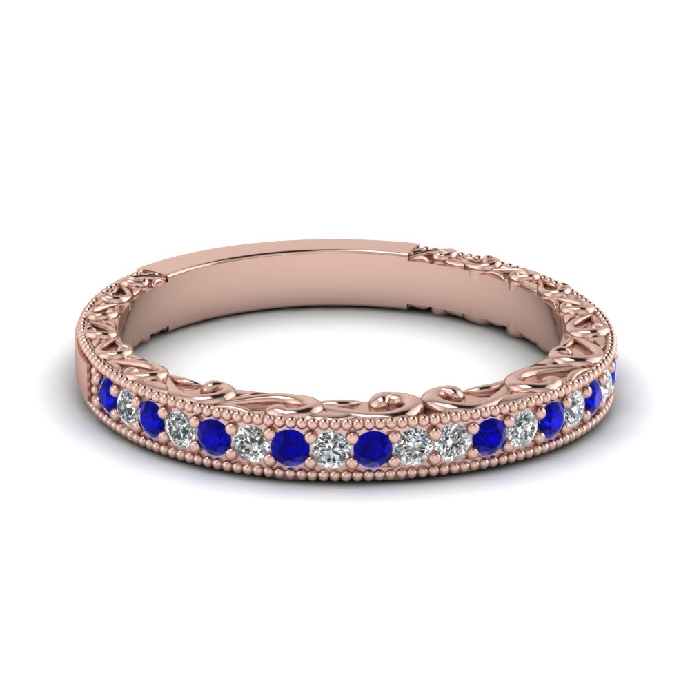 Womens Wedding Bands With Blue Shire In 14k Rose Gold