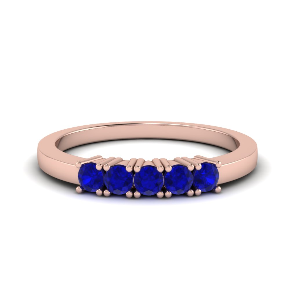 5 stone sapphire wedding band in FDWB144GSABL NL RG GS