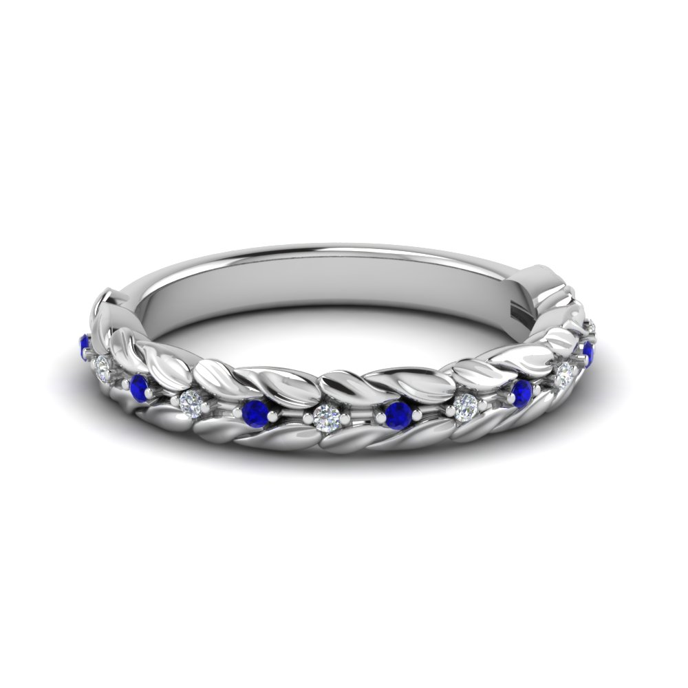 Nature Inspired Diamond Wedding Band With Sapphire In 14K White Gold