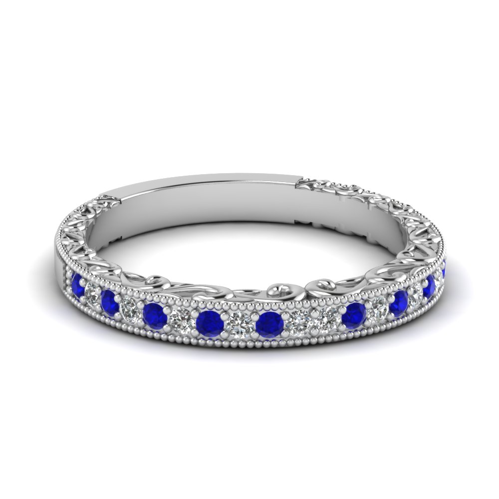 Milgrain Sapphire Diamond Wedding Band