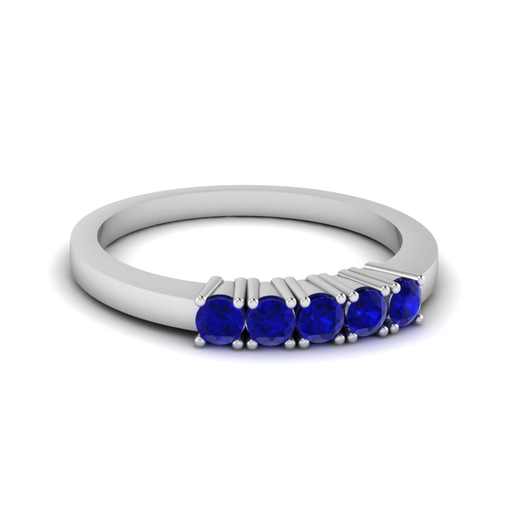 5 Round Sapphire Wedding Band For Women in White Gold