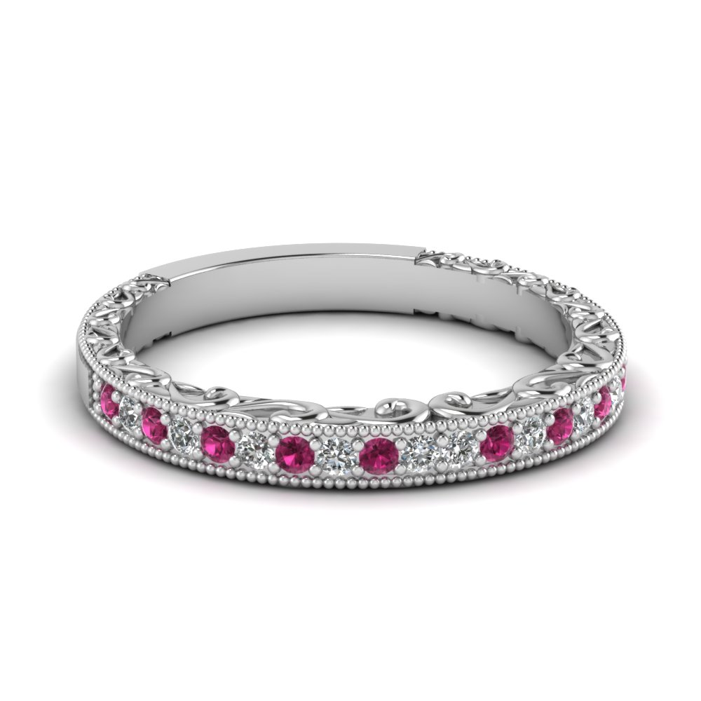 Milgrain Hand Engraved Diamond Wedding Band With Pink Sapphire In