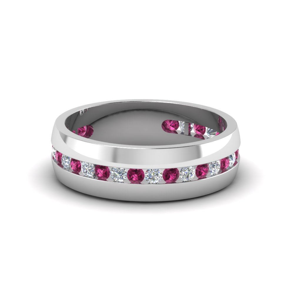 mens diamond channel wedding band with pink sapphire in FDM8040BGSADRPI NL WG