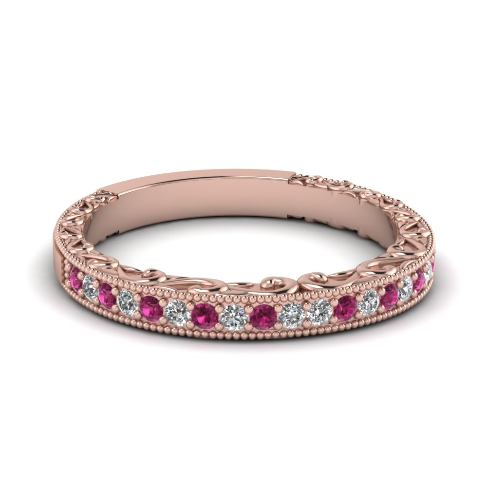 milgrain hand engraved diamond wedding band with pink sapphire in FDENS3280BGSADRPI NL RG