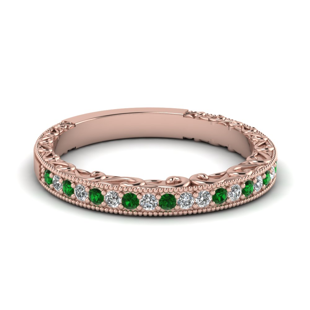 Milgrain Emerald Filigree Band