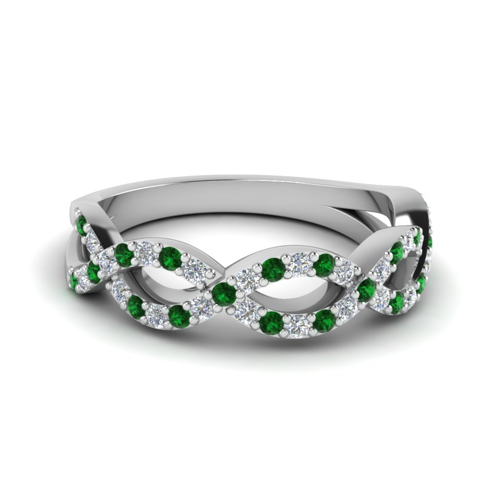 twisted infinity diamond wedding band with emerald in FD1078BGEMGR NL WG
