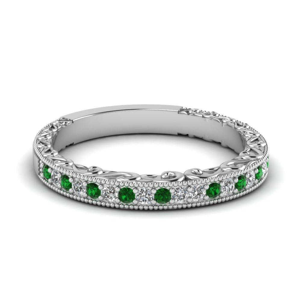 Milgrain Hand Engraved Diamond Wedding Band With Emerald In Fdens3280bgemgr Nl Wg