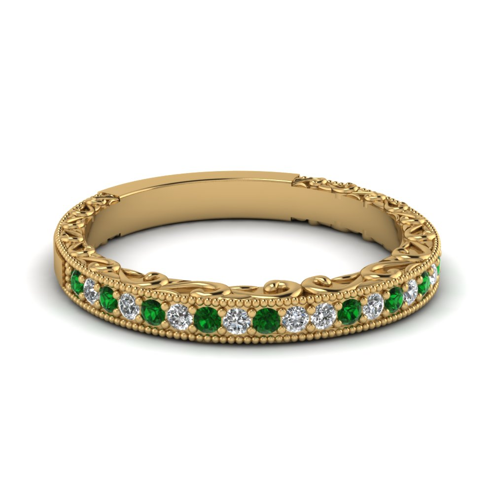 Emerald Diamond Hand Engraved Band