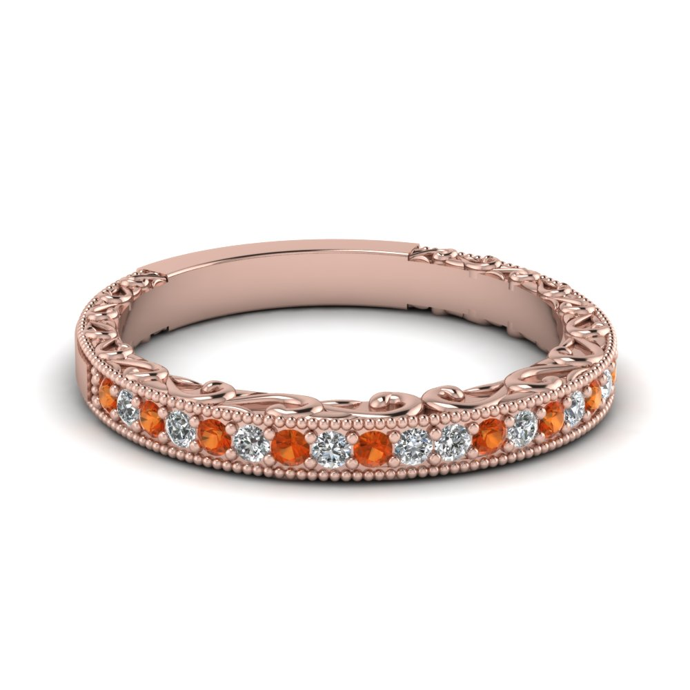 Hand Engraved Orange Sapphire Band