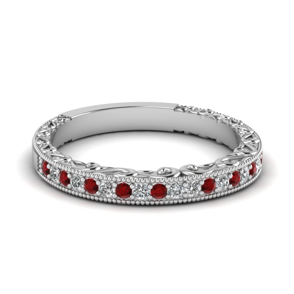 milgrain hand engraved diamond wedding band with ruby in FDENS3280BGRUDR NL WG