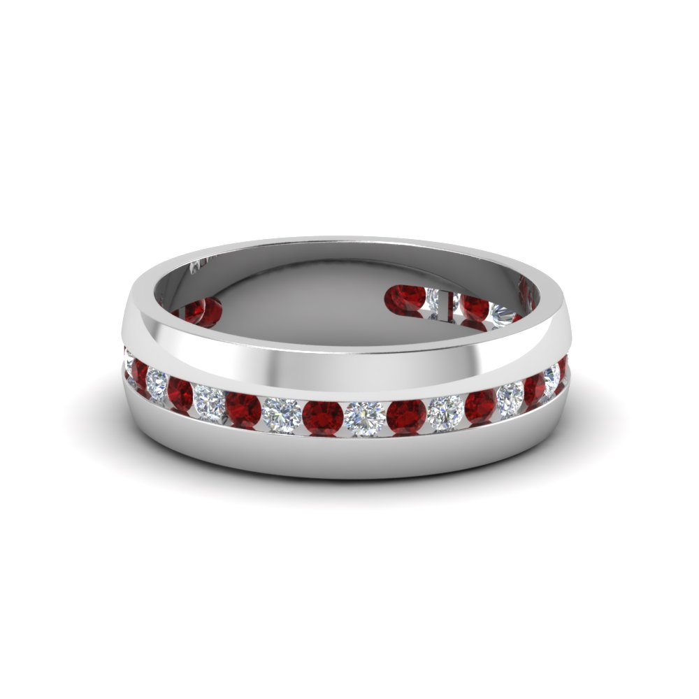 mens diamond channel wedding band with ruby in FDM8040BGRUDR NL WG
