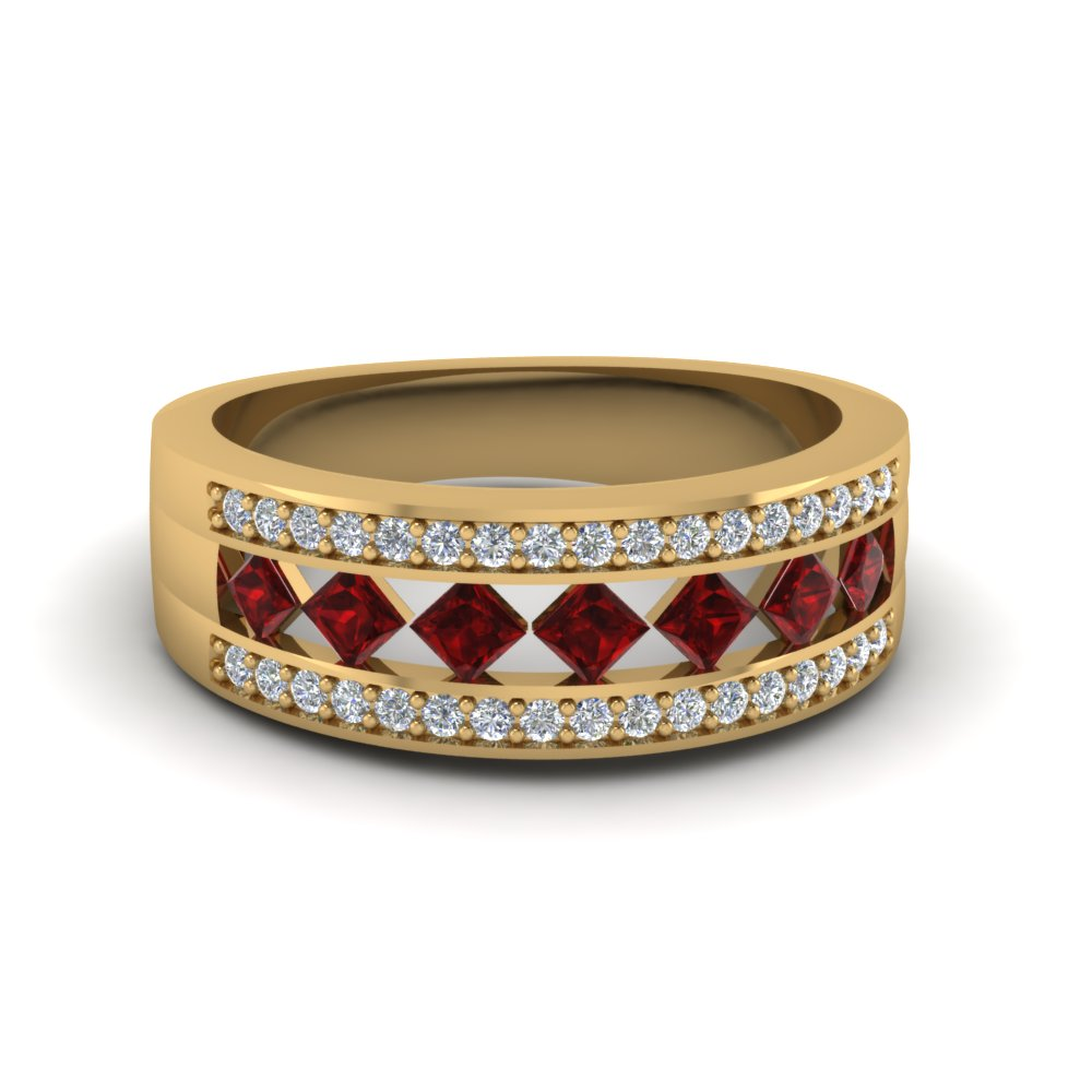Pave Set Diamond And Princess Cut Ruby Wedding Band