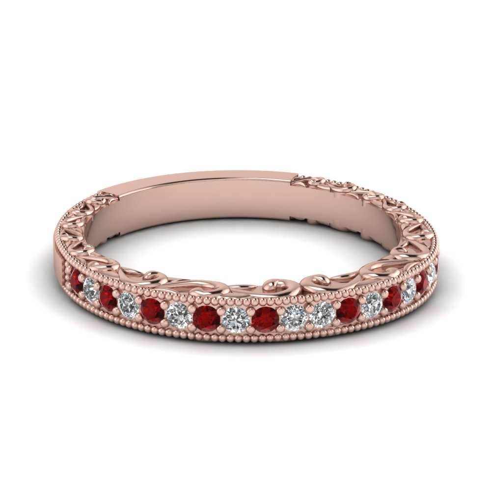362e95c7511 milgrain hand engraved diamond wedding band with ruby in FDENS3280BGRUDR NL  RG