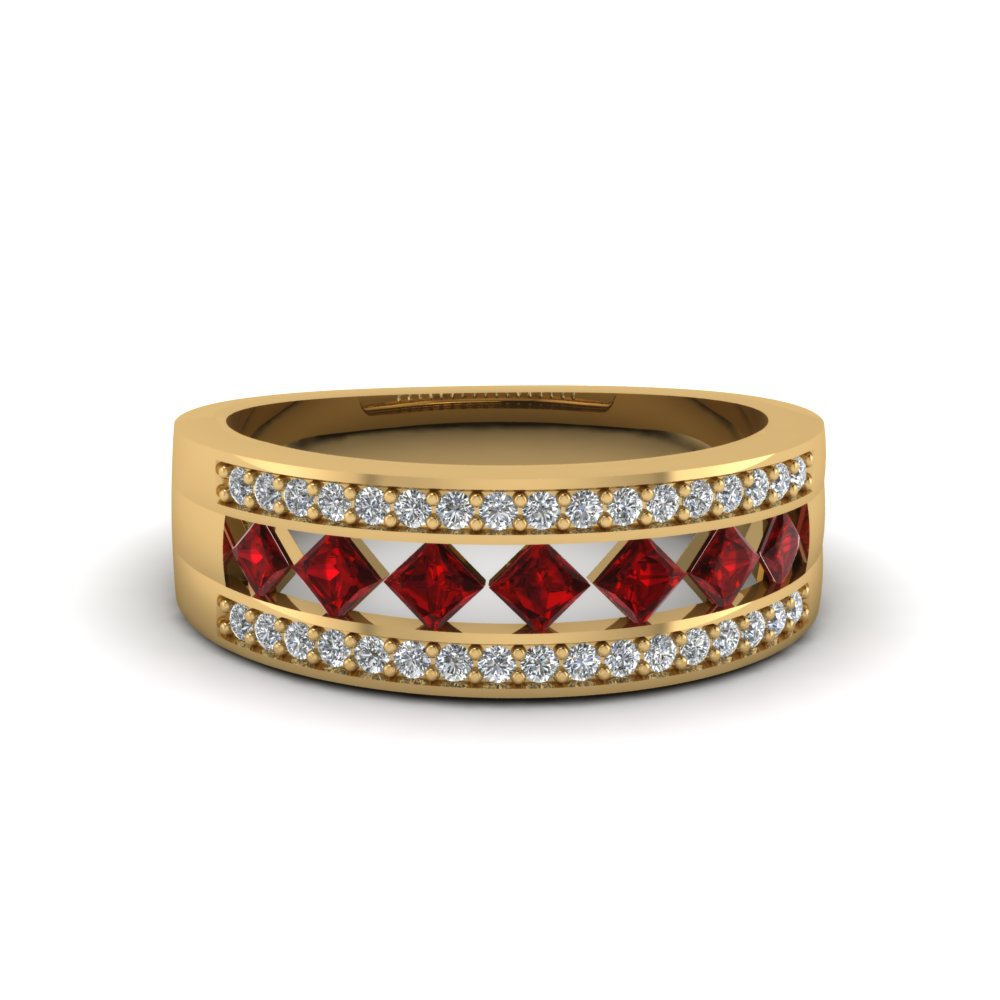 kite and pave set diamond wedding band with ruby in FDENS1149BGRUDR NL YG