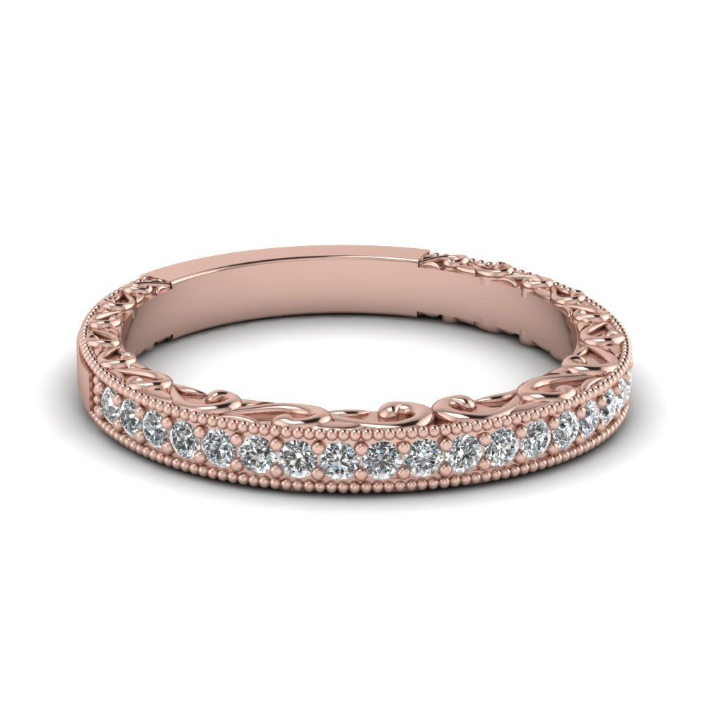 womens wedding bands with white diamond in 14k rose gold - Rose Gold Wedding Rings For Women