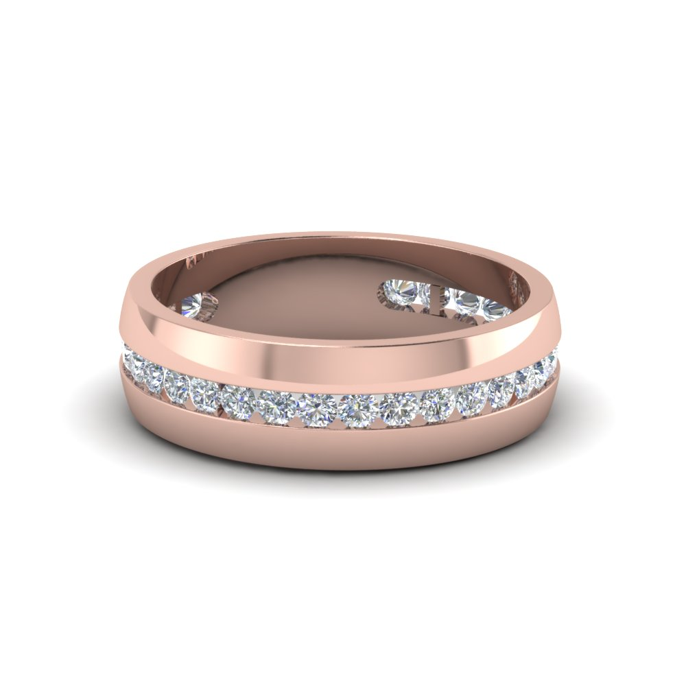 mens wedding rings with white diamond in 14k rose gold - Mens Rose Gold Wedding Rings