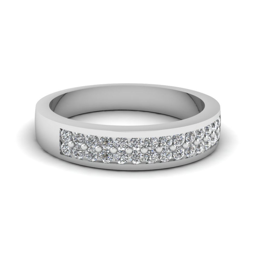 twin row white gold wedding ring