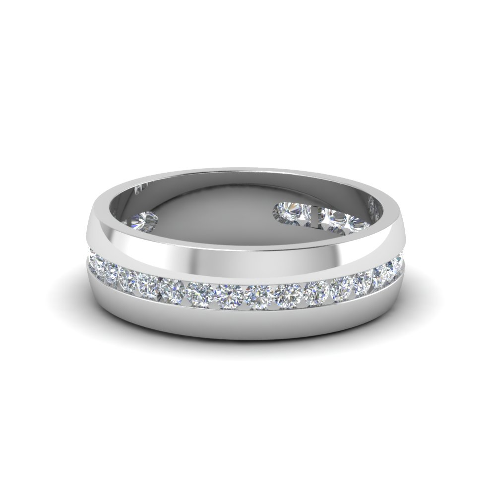 Mens Diamond Channel Wedding Band In 18k White Gold Fascinating Diamonds