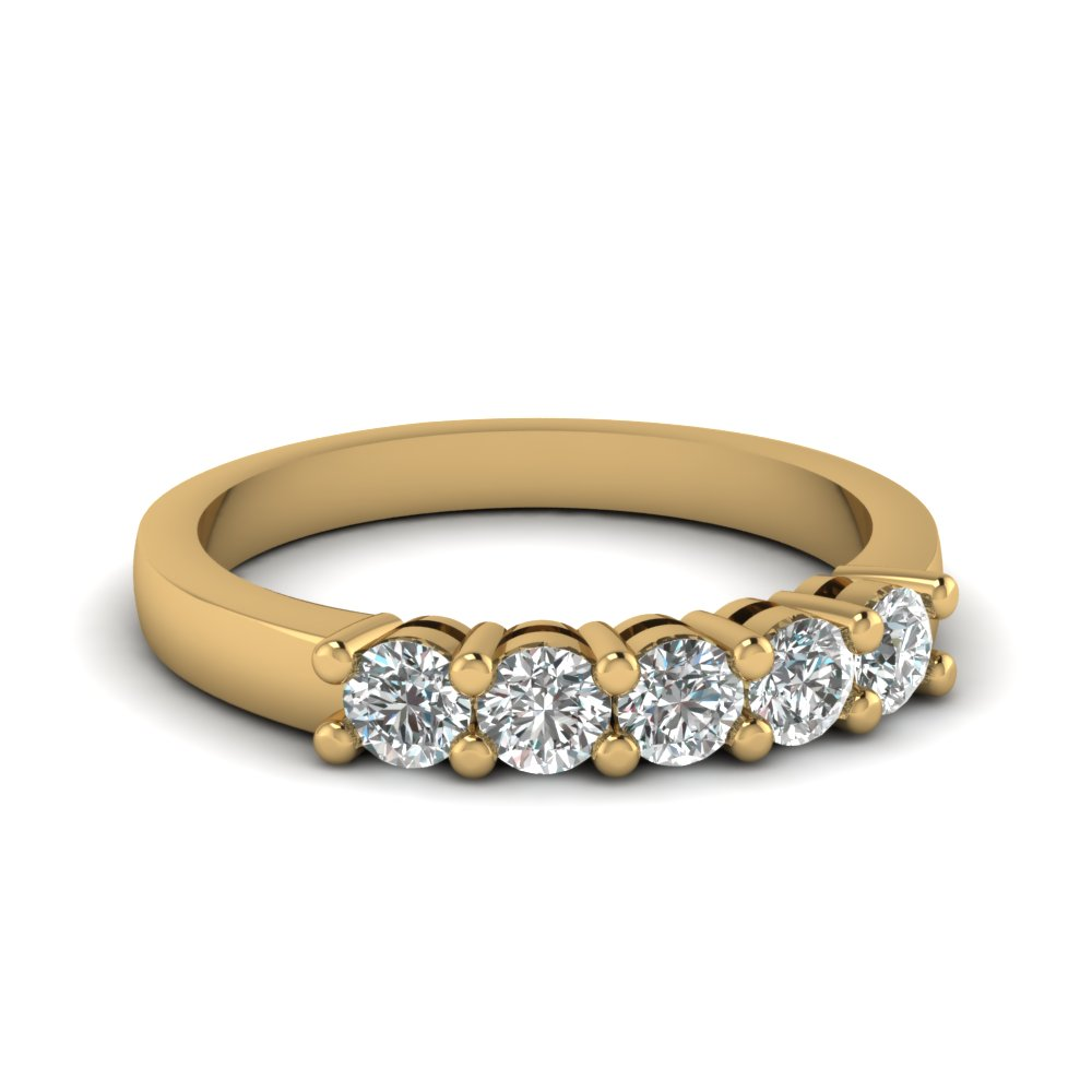 1 5 Carat Five Stone Diamond Wedding Band In 18k Yellow Gold Fdens141b Nl Yg