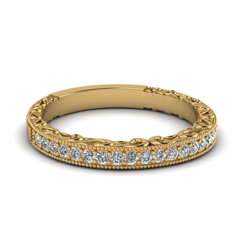Diamond wedding bands yellow gold for women