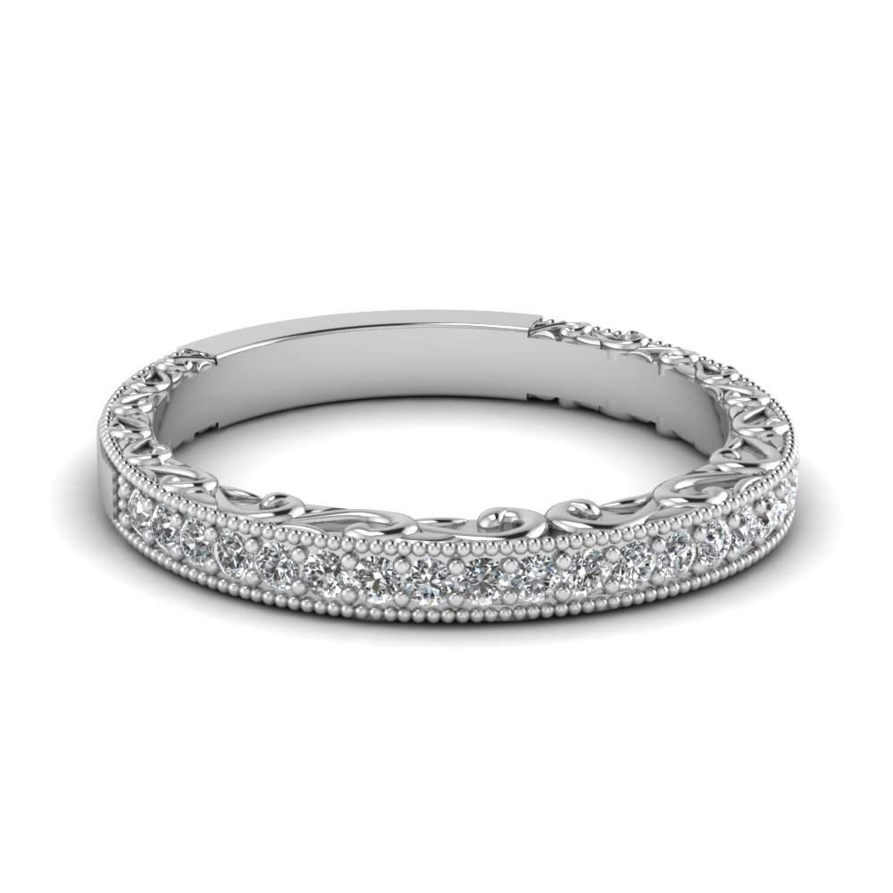 Milgrain Hand Engraved Diamond Wedding Band In 14k White Gold